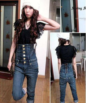 A lace-up back cute ☆ high-waisted denim ♪ casual COOL ◎ scheduled to ship today 11/28