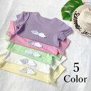 送料無料Tシャツ 半袖 キッズ 子供服 女の子 夏服 ラウンドネック ロゴプリント 装飾 天使の羽 トップス 無地 白 ピンク 可愛い