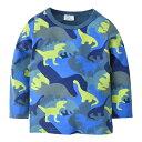 送料無料Tシャツ ロングTシャツ 子供用 キッズ 男の子 長袖 ラウンドネック 丸首 恐竜 プリント カジュアル アウトドア かっこいい ブルー おしゃれ
