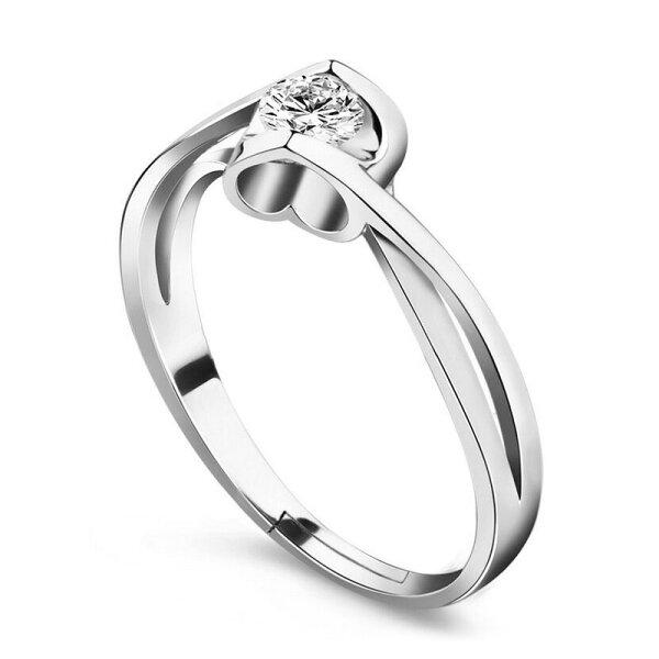 指輪リングクリアストーンハートシルバーカラーサイズ調整可レディースアクセサリーかわいいおしゃれ