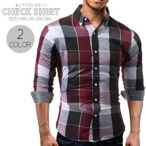 送料無料カジュアルシャツ ボタンダウン Yシャツ シャツ メンズ デザインシャツ 長袖 チェック柄 ブロックチェック柄 カジュアル 前開き ボタン オールシーズン お洒落 オシャレ おしゃれ 格好いい カッコイイ 大人 男性 紳士 M L XL 2XL
