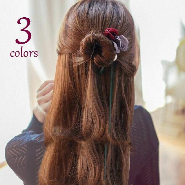 ヘアアクセサリーヘアバンドお団子ヘアまとめ髪ヘアアレンジレディースヘアアクセ薔薇花フラワーレディースかわいいおしゃれレッドピンク