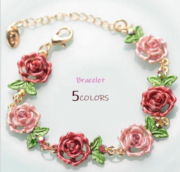 ブレスレット腕輪女性大人ファッション小物バラ花雑貨飾りオシャレ可愛い贈り物プレゼントバラフラワー