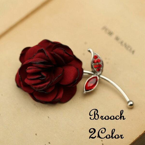 ブローチピン薔薇ローズフラワー花ユニセックス男女兼用レディースアクセサリーおしゃれレッドブルー