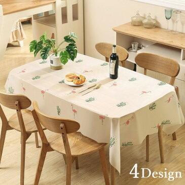 送料無料テーブルクロス テーブルマット テーブルカバー 食卓 カバー 長方形 正方形 プリント柄 防油 防水 撥水 フルーツ フラミンゴ 花 可愛い