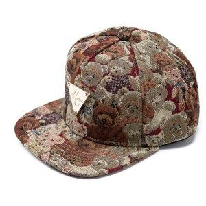 送料無料 クマ・テディベアボールキャップ・帽子・カジュアル・ゴールドプレート付き