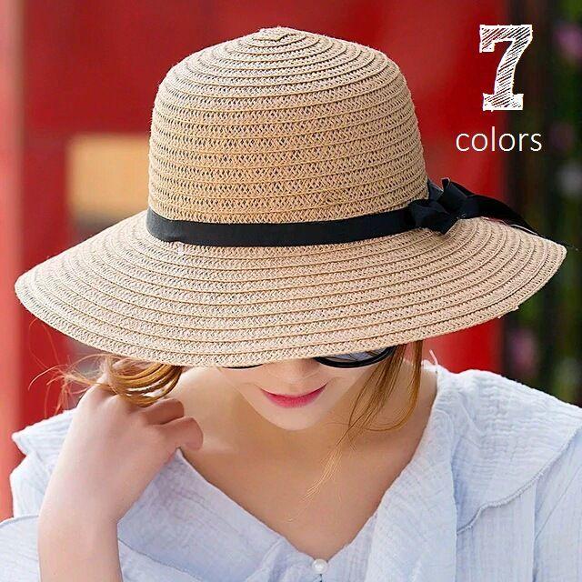 送料無料リボン付き帽子 リボン付きハット カンカン帽 つば広 つば広ハット つば広帽 女優帽 麦わら帽子 折り畳み 折りたたみ帽 折り畳み帽 日よけ 日よけ帽子 UV対策 UV対策帽子 UVハット かばん収納 レディース 紫外線対策 防止 ハット ストロ