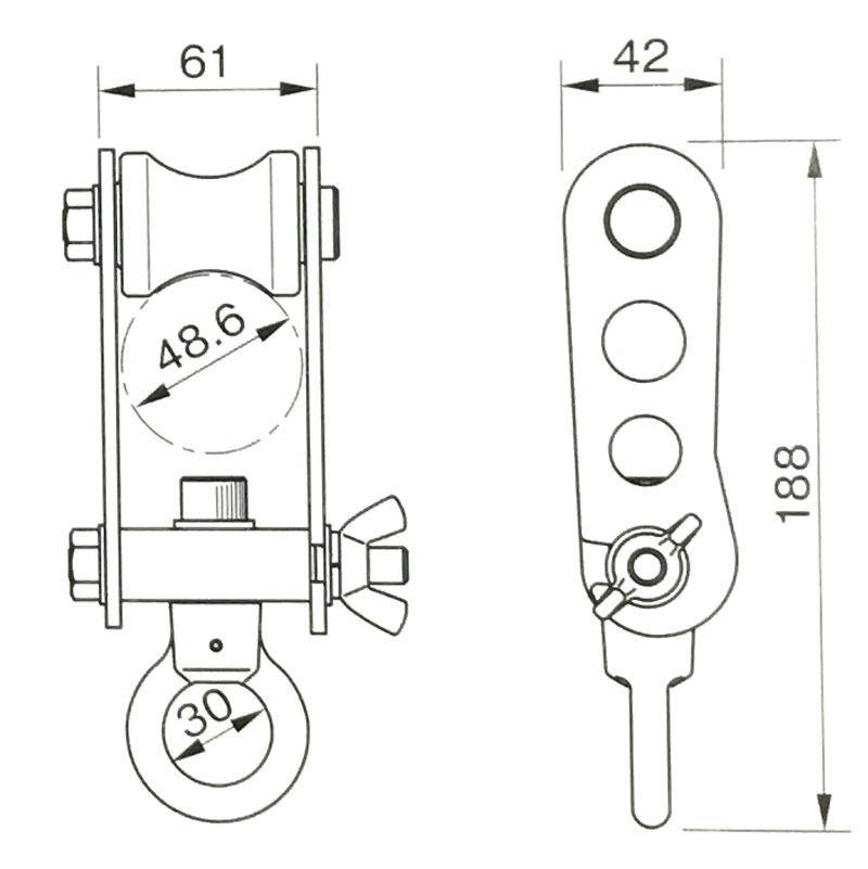 単管 トロリー LB-Tr 許容 ライフロック チェーンブロック 滑車用 吊具 重量 130kg 123 アミD