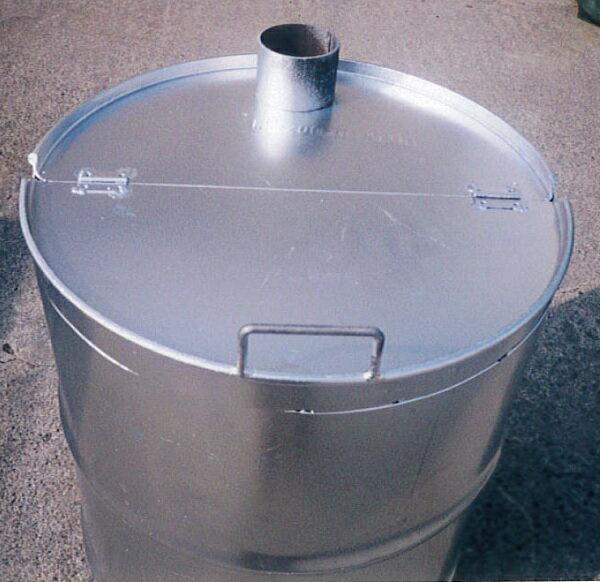 緑 ドラム缶焼却炉 フタ付き 煙突なし 200L 焼却炉 ミY
