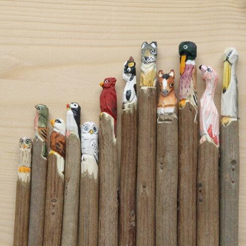 ボールペン おしゃれ メール便OK アマブロ アニマルペン アニマル ペン ボールペン キャラクター 木彫り ハンドメイド かわいい ナチュラル 雑貨 木製 おもしろ 文房具 プレゼント
