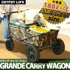 送料無料キャリーワゴン折りたたみplywoodオリジナルグランデキャリーワゴンカートキャリーカートキャンプアウトドア台車キャリーカート軽量折りたたみ4輪