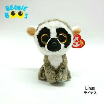 【TY】 ぬいぐるみ 【BEANIE BOO'S】 Linus ライナス ビーニーブーズ ワオキツネザル サル 猿 Mサイズ 約15cm