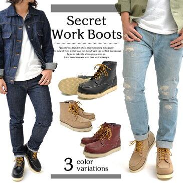 6cm Up シークレット ワークブーツ レースアップ サイドジップ ブーツ メンズ Secret Work Boots Lace Up Side Zip きれいめ ストリート ファッション ブーツ 紳士靴 彼氏 男性 カジュアル