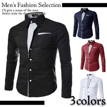 スリムカジュアルシャツ メンズ 長袖シャツ /カジュアルシャツ メンズファッション スリムカジュアルシャツ きれいめ キレイめ 彼氏 男性 Men's アメカジ ストリートファッション