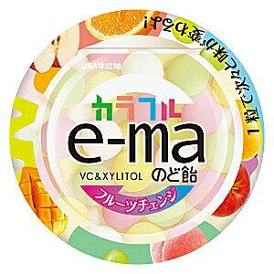 味覚糖e-maのど飴 カラフルフルーツチェンジ33g丸型容器×6入 【イーマ】