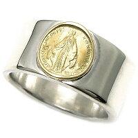 18Kマリアコイン付きシルバーリング・平打ち・シンプル・18金ゴールド・シルバー925・銀・指輪