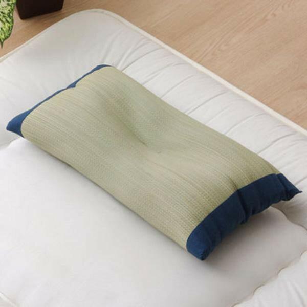 低反発ウレタンチップ入り い草枕 サブレ 低反発枕 箱付 ブルー 約50×30cm 3602590