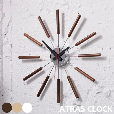 掛け時計 ATRAS アトラス ウォールクロック 北欧 静か スイーブムーブメント 放射状 シンプル リビング 寝室 おしゃれ 音がしない ブラウン ナチュラル ホワイト ARTWORKSTUDIO アートワークスタジオ TK-2048