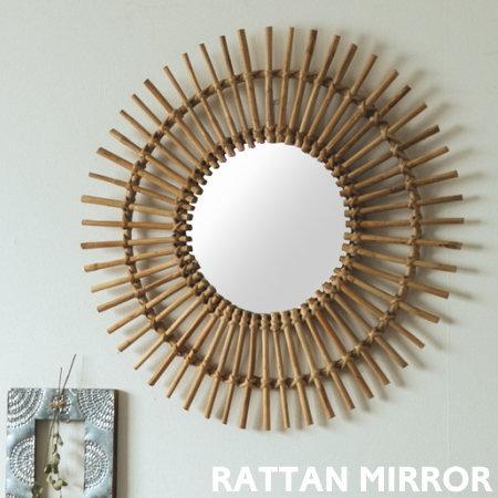 ラタンミラー ウォールミラー 鏡 丸型 ウォールデコ ラタン かわいい おしゃれ 壁掛け 壁面 ナチュラル リビング 玄関 壁面装飾