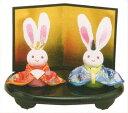 雛人形(ひな人形) ひなまつり 和雑貨 なごみ かわいい和ごころ 兎わらべ雛手作りちりめん細工 コンパクト  リュウコドウ ひなまつり