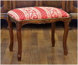 ロココ調イタリア家具角型スツール ボーダースツール(イタリア家具)