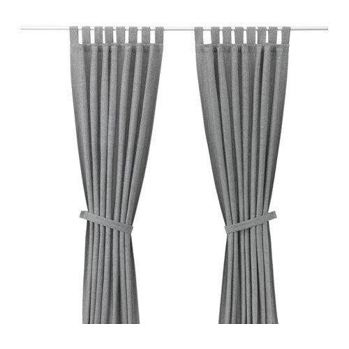 【IKEA Original】LENDA -レンダ- カーテン タッセル付き 1組 グレー 140x250cm