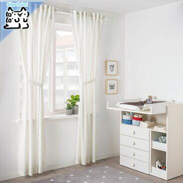 【IKEA Original】LEN カーテン タッセル付き 1組 水玉模様 ホワイト 120x250 cm