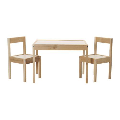 【IKEA Original】LATT -レット- 子供用テーブル チェア2脚付 ホワイト パイン材の写真