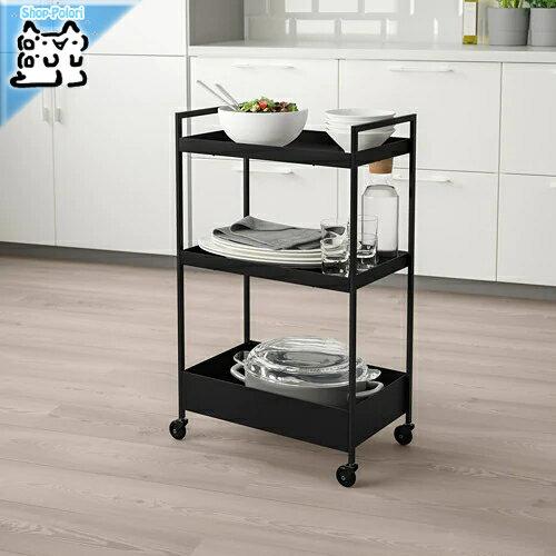 【IKEA Original】NISSAFORS -ニッサフォース- シェルフ ワゴン ブラック 50.5x30x83 cm