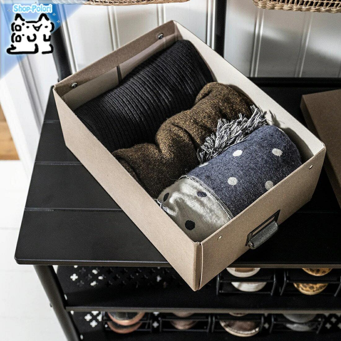 【IKEA Original】TJOG -チョーグ- 収納ボックス ふた付き ダークベージュ 25x36x15 cm