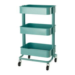 【IKEA Original】RASKOG-ロスコーグ- キッチンワゴン バスワゴン ターコイ…