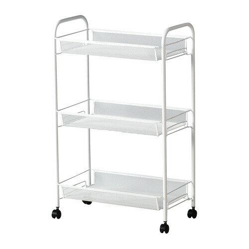 【IKEA Original】ikea キッチンワゴン HORNAVAN -ホールナヴァン- バスワゴン/キッチンワゴン ホワイト 26x48x77 cm