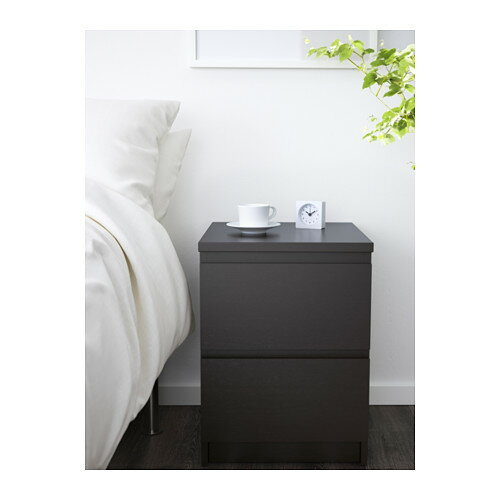 【IKEA Original】MALM-マルム- チェスト(引き出し×2)ベッドサイドテーブル ブラックブラウン 40×55cm