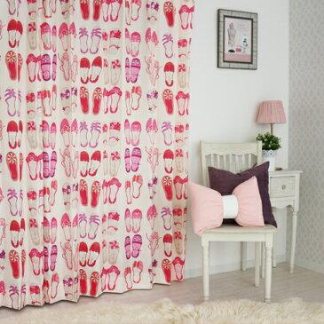 子供部屋カーテン 4枚組 「パンプス」 【厚地カーテン2枚+ ミラーレースカーテン2枚】 かわいい ピンク カーテン 女の子 バレエシューズ柄 靴