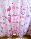 【即納】バレエシューズがかわいいカーテン4枚組バッグ入りカーテン 【パンプス】子供部屋 女...