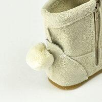 POMPKINS-Kポプキンズボンボンつき本革ベビーブーツブラウン/オフホワイト全2色12cm13cm14cm全3サイズ日本製POMPKINSキッズブーツ子供靴ベビー靴シューズ子供高級ベビーブーツ子供ブーツブーツ赤ちゃん日本製MADEINJAPAN