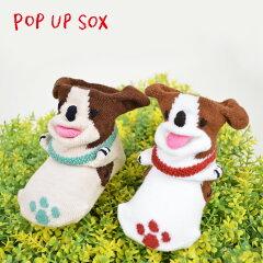 ポプキンズ POP UP SOX ポップアップソックス「いぬ Dog」適応サイズ 9〜12cm 出産祝い 足型付 専用のパッケージ入り POMPKINS 赤ちゃん ベビー靴下 贈り物[POMPKINS【ポプキンズ】(子供靴)]