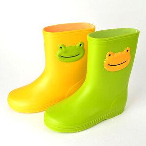 【ポイント10倍】【メーカー直販】ポプキンズ かえるレインブーツ 13cm/14cm/15cm/16cm/17cm 5サイズ展開 グリーン イエロー2色展開 カエルのアップリケ 長靴 Made in JAPAN かえるのレイングッズコレクション POMPKINS キッズレインブーツ 子供 雨具 雨靴