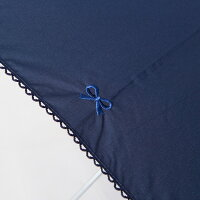 《メーカー直販》ポプキンズリボン柄の刺しゅうが入った傘シンプルでおしゃれなデザイン手押し式タイプ安全仕様45cm50cm55cmの3サイズネイビーサックスアイボリーの3色展開POMPKINSキッズ傘子供傘キッズ子供傘かさ雨傘