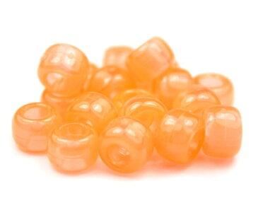 【大きな穴が特徴のビーズ】オレンジ 蓄光 9x6mm(標準) バレル ポニービーズ(約100個)