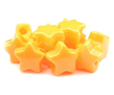 【大きな穴が特徴のビーズ】オレンジ 不透明(Opaque) 13mm スター ポニービーズ(約50個)