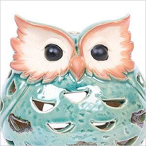 フクロウ アロマポット(アウルポット)フクロウ ふくろう 雑貨 蚊やり 蚊遣り 蚊取り線香 アロマポット キャンドルポット インテリア オーナー雑貨 置物 陶器