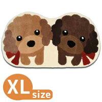 ツインプードル玄関マットXLサイズプードル/雑貨/マット/玄関マット/ラグ/インテリア/手洗い/グッズ/犬/ドッグ