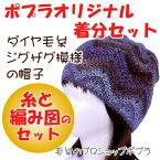 【ダイヤモンド】【着分パック】ジグザグ模様の帽子【秋冬】【初心者】【編み図付】【編み物キット】