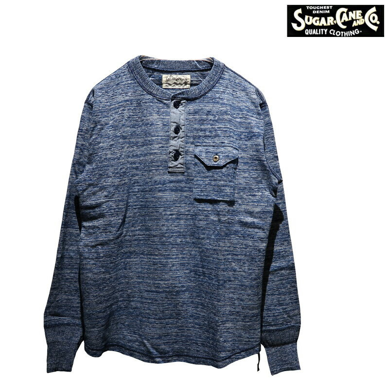 トップス, Tシャツ・カットソー  SUGAR CANE FICTION ROMANCE 4NEEDLES INDIGO HENLEY NECK T-SHIRT4T SC68348 T