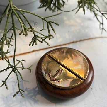 北欧雑貨 灰皿 ゴールド 木製枠