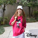 【送料無料】ディズニー トレーナー 女性 ミッキーマウストレーナー レディース ミッキー カットソー トップス ミッキーマウス 大きいサイズ ロング丈 Disney ディズニーカットソー ヴィンデージー ミッキーポイントプリントトレーナー
