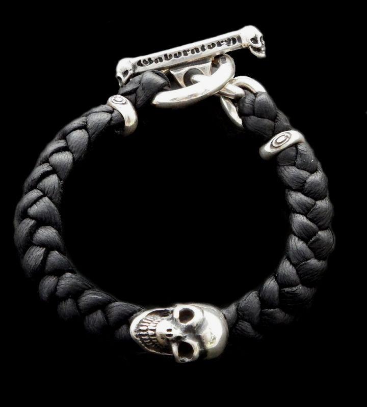 メンズジュエリー・アクセサリー, ブレスレット GABORATORY GABOR Skull On braid leather bracelet 22.3cm B-66 silver 925 925