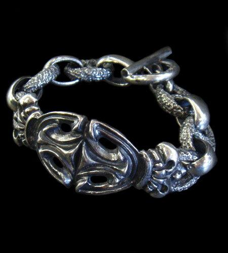 メンズジュエリー・アクセサリー, ブレスレット GABORATORY GABOR Crown Sculpted Oval With H.W.O Chiseled Anchor Chain Bracelet B-92 gaboratory gaborsilver 925 925
