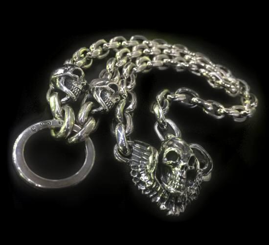 メンズジュエリー・アクセサリー, ネックレス・ペンダント gaboratory gabor 2skull skull wing with small oval links key ring necklace N-133 silver 925 925
